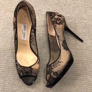 Jimmy Choo black lace open toe heel 41.5